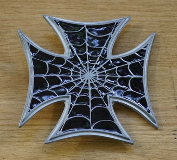 """Buckle / gesp  """" Maltezer kruis met spinnenweb """""""