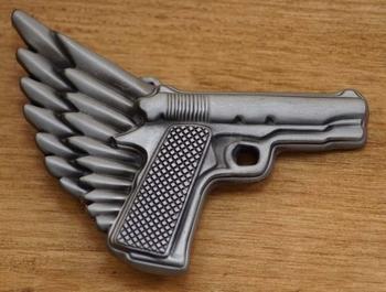 "Belt buckle  "" Pistool met vleugel """