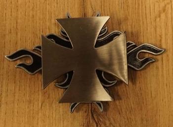 """Buckle / gesp """" Maltezer kruis met vlammen """""""
