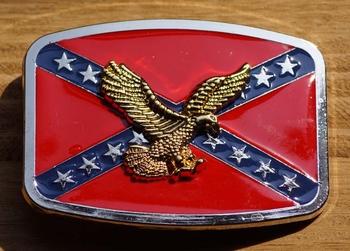 """Buckle / gesp  """" Rebelvlag met adelaar goudkleurig """""""