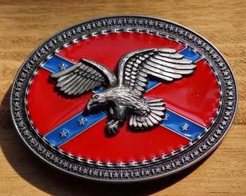 "Buckle / gesp  "" Rebelvlag met adelaar nikkelkleurig """