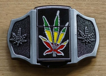 "Belt buckle with lighter  "" Marijuana ""   UITVERKOCHT"