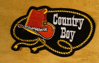 "Geborduurde applicaties  "" Country boy """
