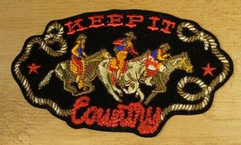 """Strijkapplicatie  """" Keep it country """"  Cowboys"""