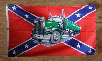 """Gevelvlag """" Rebel vlag met vrachtwagen """""""