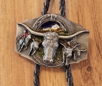 """Bolo tie  """" Stierenkop met bizon, cowboy  """"  UITVERKOCHT"""