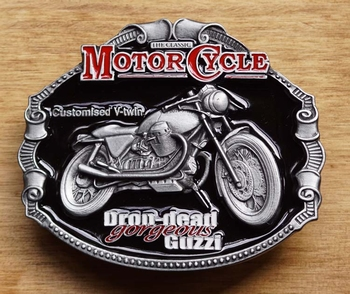 "Motor cycle buckle  "" Dron-dead Gorgeous Guzzi """