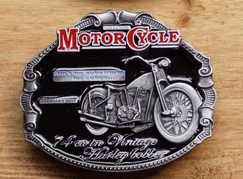 """Motor cycle buckle  """" 74 cu in Vintage Harley Bobber """""""