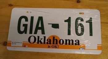 "Amerikaanse kentekenplaat "" GIA 161 ""  Oklahoma"