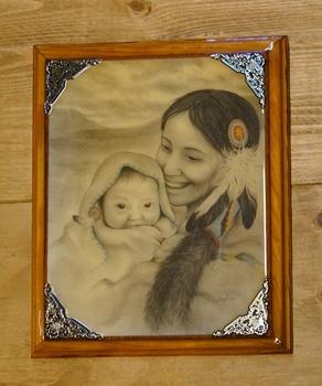 """Western schilderij """" Indiaanse met baby """""""