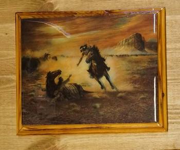 """Wild west schilderij """" Indianen met paarden """""""