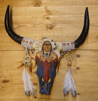 Buffalo schedel met indiaan