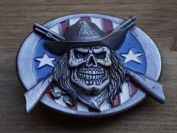 """Belt buckle """" Doodskop cowboy u.s.a. vlag gun """""""
