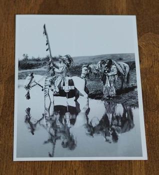 """Ansicht kaart  """" Indianen met paarden bij rivier  """""""