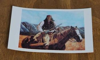 """Ansicht kaart  """" Indiaan op paard, bergen op de achtergrond"""