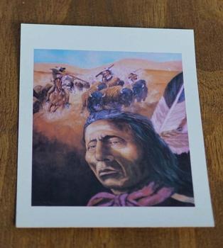 """Ansicht kaart  """" Indianen jagend op bizons """""""
