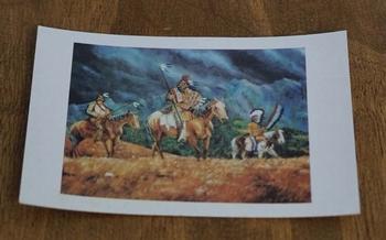 """Ansicht kaart  """" Indianen op paard in de wei """""""