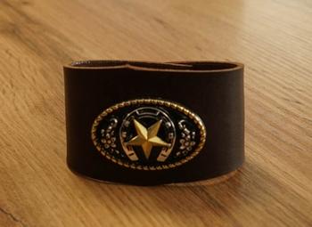 """Brede leren armband """" Ranger ster met bizon schedel """"  beige"""