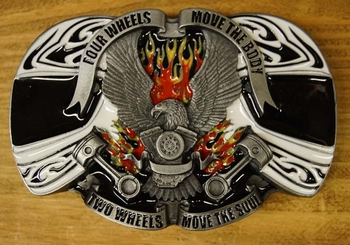 """Buckle  """" Four wheels move the body, Two wheels move the sou"""