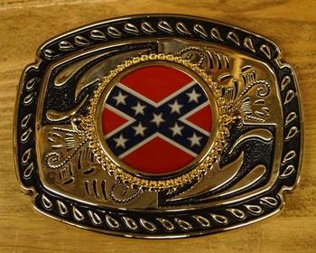 """Buckle / gesp  """"  Rebel vlag op schild """" Zwart / goudkleurig"""