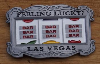 """Belt buckle  """" Feeling lucky,  Las Vegas """"   Speelkast"""