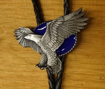 """Bolo tie  """" Adelaar """"  Zilver / blauw"""
