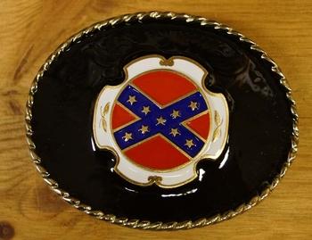 """Buckle """"  Rebelvlag """"  zwarte achtergrond"""