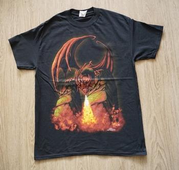 """T-shirt """" Fireball dragon """" Zwart"""