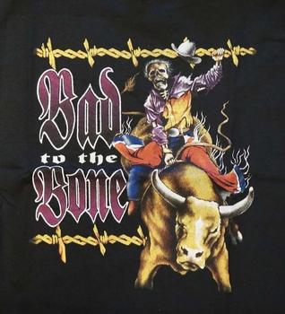 """T-shirt """"  Bad to the bone / cowboy skelet """"  Zwart"""