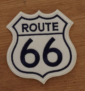 """Strijkapplicatie  """" Route 66 """"  wit / blauw"""