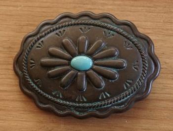 "Buckle  "" Ovaal met sierwerk en blauwe steen ""  koper"