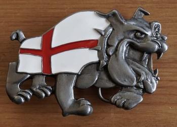 """Buckle """"  Bulldog met Engelse vlag """""""