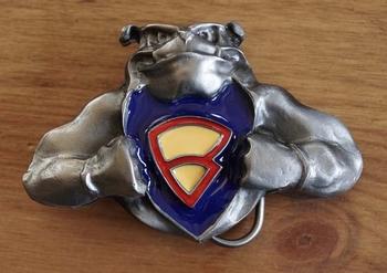 """Buckle """"  Bulldog met superman logo """""""