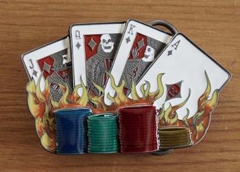 """Belt buckle  """" Kaarten en casino munten """""""