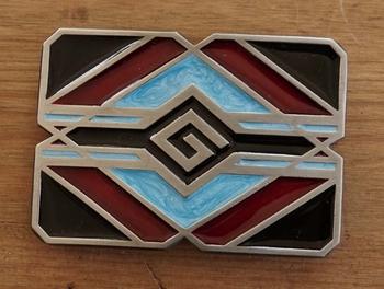 "Buckle / gesp  "" Indiaanse abstrad ""  zwart / rood / blauw"