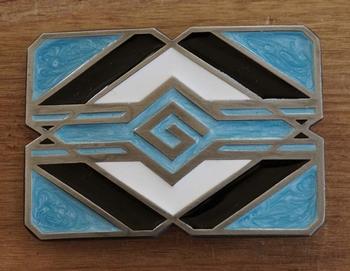"Buckle / gesp  "" Indiaanse abstrad ""  blauw / zwart / wit"