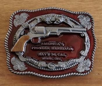"""Buckle """" America's pioneer heritage navy 36 cal. """""""