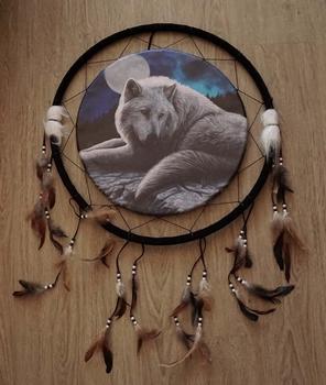 """Dreamcatcher  """" Wolf bij volle maan """""""