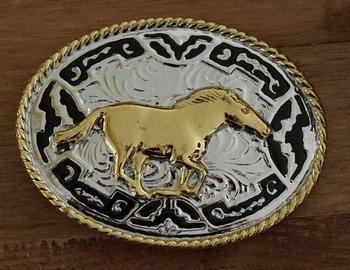 """Buckle  """" Mustang paard """" Goud- / zilverkleurig / zwart"""