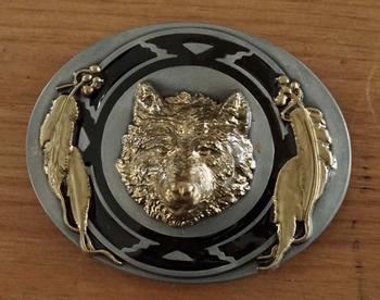 "Belt buckle  "" Wolf ""  Goudkleurig / zwart / goudkleurig"