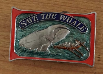"""Buckle """" Save the whale """"   Red de walvis"""