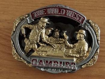 """Belt buckle  """" The wild west gambler """" zwart / goudkleurig"""