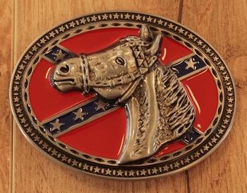 """Buckle / gesp  """" Rebel vlag met paardenhoofd """""""