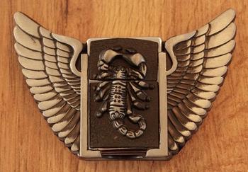 """Belt buckle with lighter  """" Scorpion met vleugels """""""