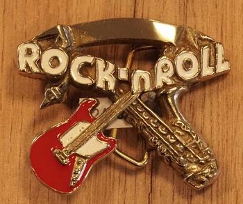 """Buckle  """" Rock 'n Roll """"  gitaar met saxofoon"""