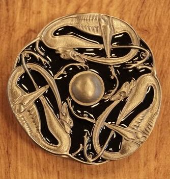 """Buckle  """" 3 Keltische slangen """" zwart / nikkelkleurig"""