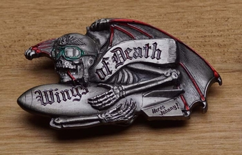 "Belt buckle  "" Wings of Death, heres Johnny ! """