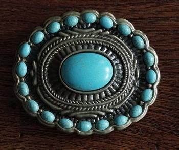 "Buckle "" Sierwerk grote turquoise steen met kleine stenen """