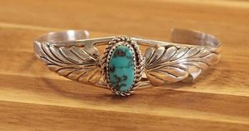 """Indiaanse klemarmband """" Bladmotief met turquoise steen """""""