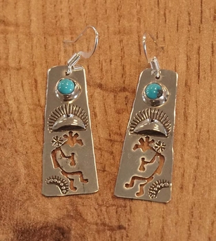 """Sterling zilveren oorhangers """" Publo indiaan blauwe steen"""""""